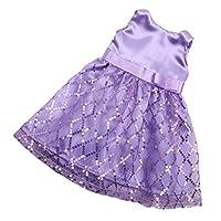 Fenteer 布製 人形服 18インチアメリカンガールドールのため ノースリーブドレス スカート ワンピース 4カラー選択 - 紫