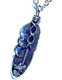 フェザーモチーフ アメリカンイーグル(鷲) 立体装飾 両面羽模様彫りブレイクデザイン メンズ インディアンジュエリー シルバー925 ペンダント ネックレス