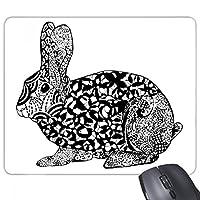 かわいいウサギの動物脂肪の肖像画のスケッチ 長方形のノンスリップゴムパッドのゲームマウスパッドプレゼント