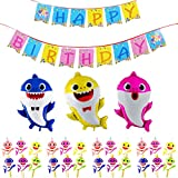Shark Birthday Party Supplies Set 28pcs Cute Shark Party Decorations Happy Birthday Banner, Shark Balloons, Shark Cake Topper for Family Baby Shower Birthday Party Decorations