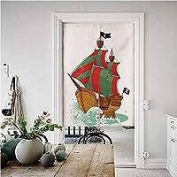 海賊 和風 風景のれん 幅85cm×丈150cm 漫画スタイルの古代の海賊帆船の海の水にはねカラフルな大きな旗装飾 暖簾 おしゃれ 北欧 プレゼント 贈り物 多色