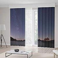 ALUONI ウィンドウカーテン TT02 スペースリビングルーム 寝室用カーテン かわいい漫画の太陽と惑星 2枚セット 157W x 106L Inches CL_BE_90314_Z_14_005_K400xG270_122469