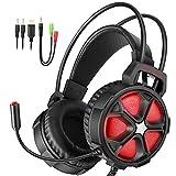 【ゲーミングヘッドセット】EasySMX COOL 2000 PS4 LEDステレオゲーミングヘッドホン 高集音性 マイク付き 3.5mm LEDライトモード切り替え ボリューム調節可能 Yスプリッタケーブル PC/Mac/New Xbox One Slim / PS4 / スマホに対応 1年保証(ブラック+レッド)
