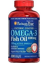 ピューリタンズプライド(Puritan's Pride) オメガ3 魚油 フィッシュオイル 1000 mg.コーティングタイプ コーティング加工ソフトジェル