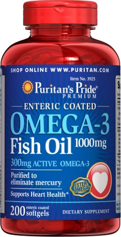とらえどころのない集中暗いピューリタンズプライド(Puritan's Pride) オメガ3 魚油 フィッシュオイル 1000 mg.コーティングタイプ コーティング加工ソフトジェル