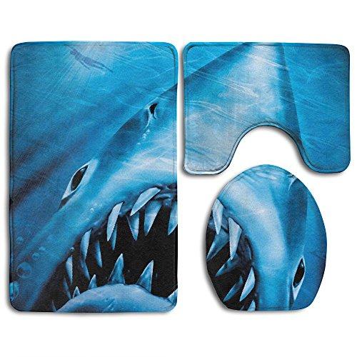 海洋のJaws Sharkソフトトイレラグ3ピースセット、非...
