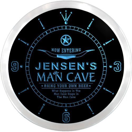 LEDネオンクロック 壁掛け時計 ncpb1259-b JENSEN'S Man Cave Cowboys Beer Bar Pub LED Neon Sign Wall Clock