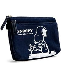 [スヌーピー] SNOOPY 平ポーチ 仕切り ポケット コスメポーチ バッグインバッグ ファスナー 軽量 スウェット かわいい