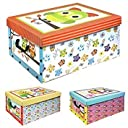(Owl Pink Purple Blue Design) - 3 Underbed Collapsible Cardboard Storage Boxes Lightweight With Lids Handles (Owl Pink Purple Blue Design)