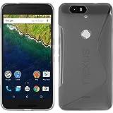 Google Nexus6P TPU グリップカバーケース [ Softbank Nexus 6P ネクサス 6ピー SIMフリー 5.7インチ 対応 ] 薄型軽量 / 滑止め加工 / ソフトフィットモデルカバー (Google Nexus6P, Design S Gray (灰))