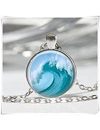 ビーチジュエリーTsunamiサーファーOcean NauticalアートペンダントTidal Waveネックレス