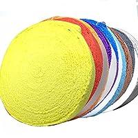 マイクロファイバー 製 タオルグリップ ロール 10m バドミントン テニス ラケット ゴルフ にも 9色から選べます (黄色 イエロー)
