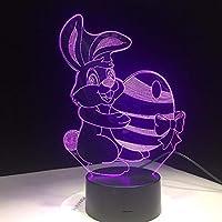 Dtcrzj Ha 新しいかわいいウサギキャリー卵ボールニンジンビジュアルランプ色を変えるLedナイトライトイリュージョンテーブルランプ用キッズベビー寝室