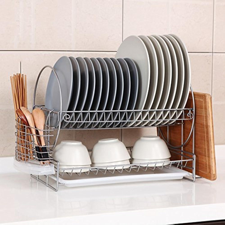 キッチンシェルフラック排水ラック2階のフロア料理収納ラック箸のスプーンラック