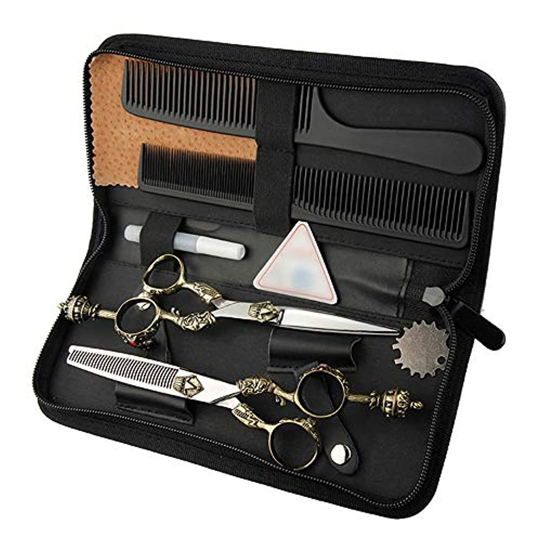 署名ツイン熱意6インチ美容院プロのヘアカットフラットシザー+歯シザーセットレトロハンドルはさみセット ヘアケア (色 : Silver)