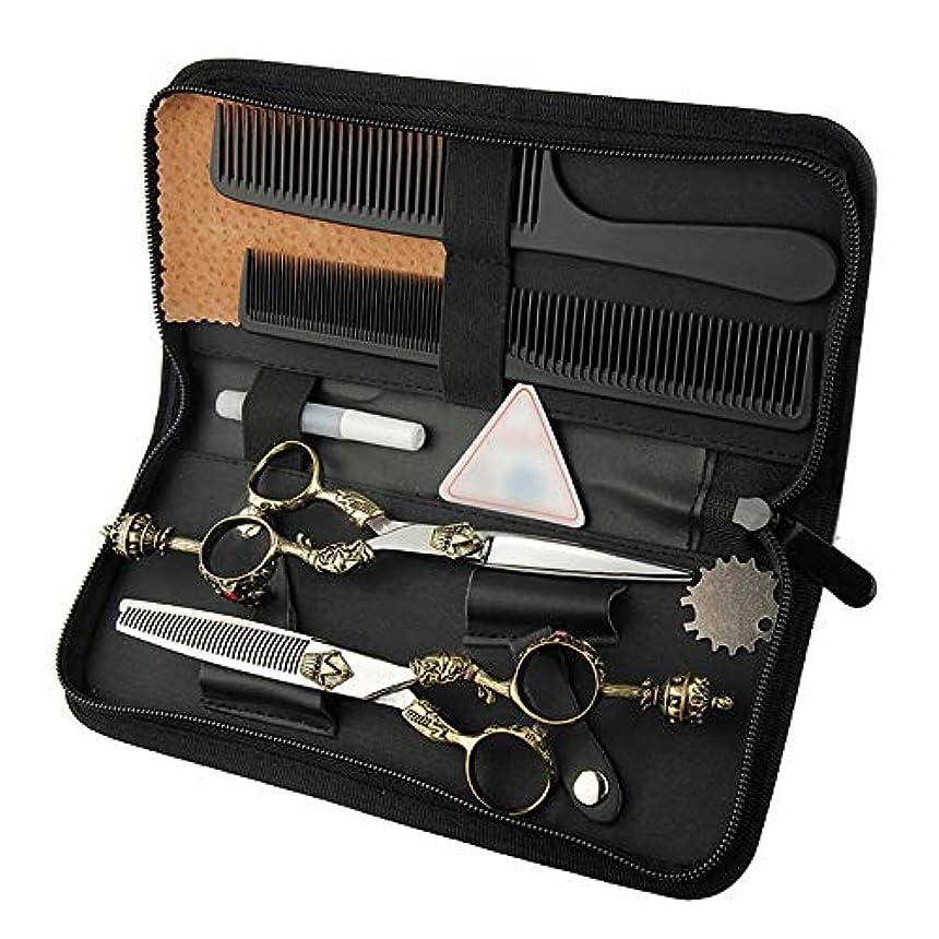 6インチ美容院プロのヘアカットフラットシザー+歯シザーセットレトロハンドルはさみセット ヘアケア (色 : Silver)
