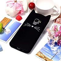 サムスンギャラクシーS9のための猫のひげパターンシリコン保護衝撃吸収バンパーカバーケース L&Y (色 : ブラック)