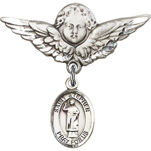 スターリングシルバー赤ちゃんバッジwith St。Stephen the MartyrチャームとエンジェルW / Wingsバッジピン1 1 / 8 x 1 1 / 8インチ