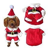 ふく福 ペット 犬 猫 用 クリスマス 服 かわいい サンタクロース 変身服 コスプレ コスチューム 服 帽子 付き (M)