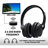 Rechargeable Wireless TV Headphones- RF Connection Headset, 2.4 GHz Transmits Wirelessly, No Bluetooth Required, AUX, RCA, Op