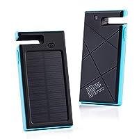 GRDE 10000mAh太陽光発電、2ポート急速充電モバイルバッテリー、緊急防災用、スマホスタンド機能付き、多用途なソーラーパネル、スマホ充電チャージャー(ブル—)