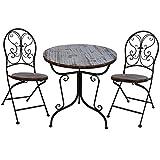 Liebe【リーベ】 ガーデンファニチャー ガーデンテーブルセット 木目調 (テーブル・チェア2P)