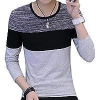 [ウルークレア] メンズ カジュアル 切り返し マルチ カラー ロング Tシャツ 2color