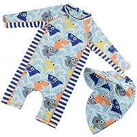 205c6cdd3fa ベビー服 水着 男の子 ロンパース キッズ水着 子供 キャップ付き 2点セット ボイーズ パンツ 半袖 赤ちゃん
