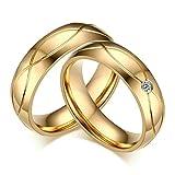 Aooaz 1 ペアリング ゴールド 結婚指輪 ゴールドメッキ ステンレス リング 5MM 刻印可能