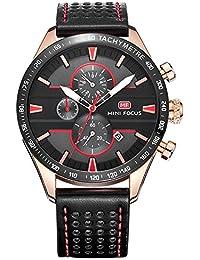 MINIFOCUS メンズ 腕時計 本革 バンド クロノグラフ 多機能 防水 カレンダー 日付 クォーツ時計 (ブラック)