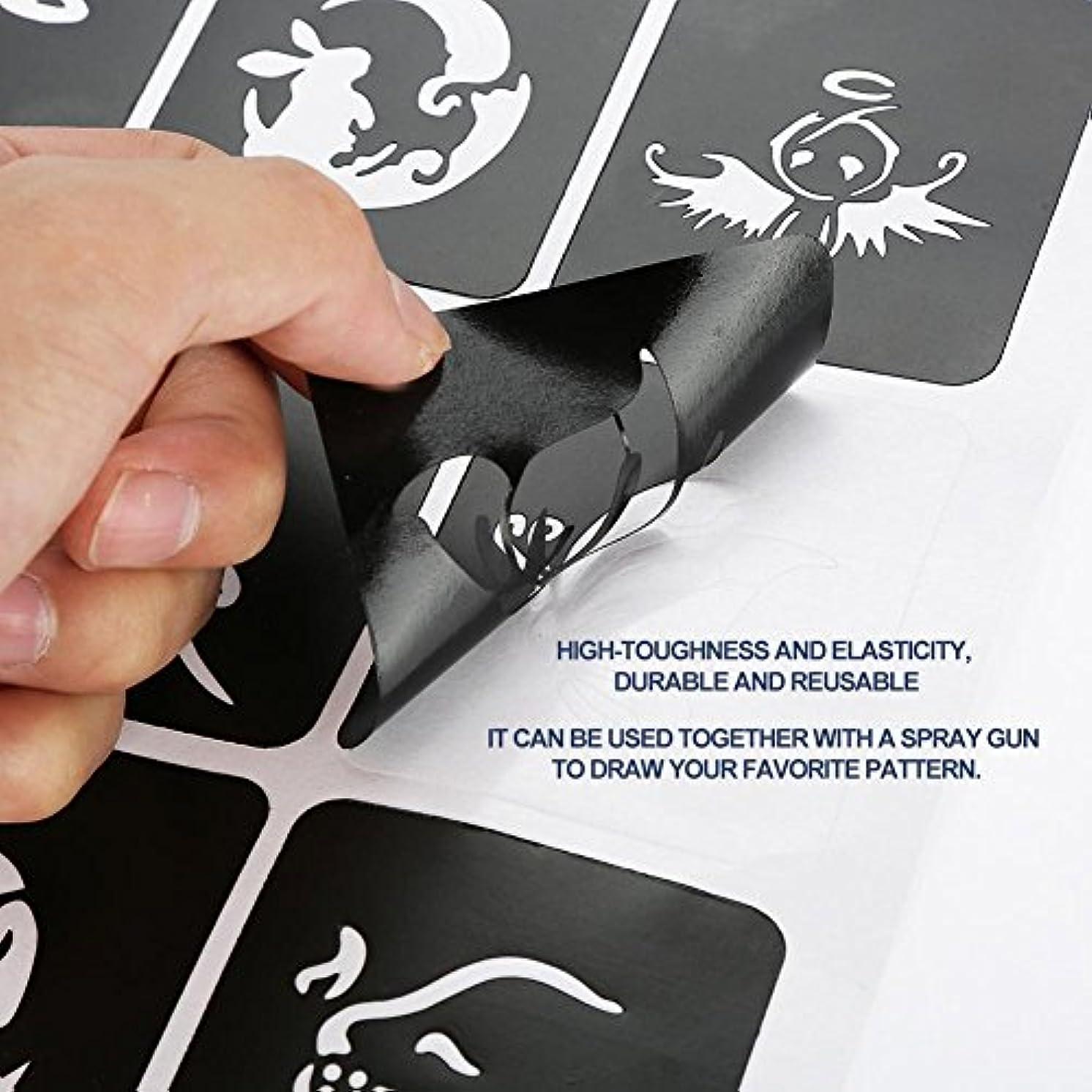 影響するスリットメッセンジャータトゥーカットアウトテンプレート、半永久的、タトゥーテンプレート、花バタフライ、漫画スプレーガンテンプレート
