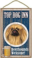 TOP DOG INN サインボード:ペキニーズ ビール好きバー看板 ウッドボード製 BEER BAR MADE IN U.S.A [並行輸入品]