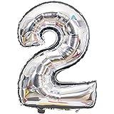 Skyllc 誕生日ウェディングパーティーデコレーションのためのシルバー数字2バルーン大型アルミ箔風船デジタルバルーン