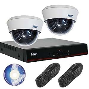130万画素 屋内 ドーム型 防犯カメラ 監視カメラ 2台 セット 【 屋内 暗視 自動録画 遠隔 】 SET-A105