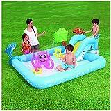 ウォータースライド付きインフレータブルプール、幼児や子供のためのスライド付きの最高のインフレータブル遊び場、夏の活動水泳のための大きな屋外のおもちゃ、子供や幼児のための携帯用裏庭のプール