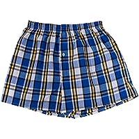 Jiayiqi Men's Tartan Boxers Elastic Waist 100% Cotton Comfort Underwear 2 Pack