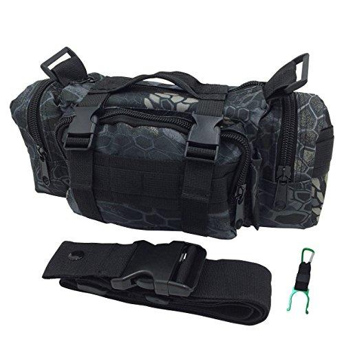 (DauStage) 5WAY 多機能 バッグ 迷彩 タクティカル  サイクリング 釣り ペットボトルホルダー付 (パイソン黒色迷彩)