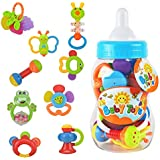 WISHTIME Rattle Teether Baby Toys - Baby 9pcs Shake and GRAP Baby Hand Development Rattle Toys for Newborn Infant with Giant Bottle  3 6 9 12 18Month