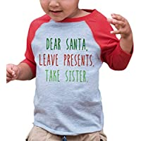 Custom Party Shop Youth Funny Dear Santa Christmas Raglan Shirt Red