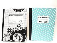 ティールシェブロンコンポジションノートブック/ブラックとホワイト5x 5グラフノートブック~ Pack of 2