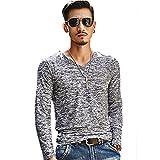 【 Smaids×Smile 】 メンズ Vネック カットソー 杢カラー シンプル 長袖 Tシャツ カジュアル 男性 ( ブラック , M )