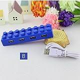 積み木デザイン4ポートUSBハブ USB HUB かわいい オシャレ 4ポート USB 2.0 LED【Y1】 (B)