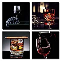 Wall art Canvas Painting 4 Pieces Wine with Cigar Posters and Prints Kitchen Bar Restaurant Decor Wall Pictures