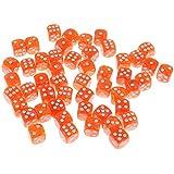 B Baosity 約50個 サイコロ ダイス テーブルゲーム用 全5色 - オレンジ