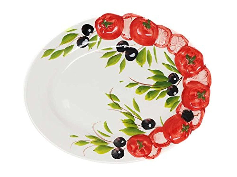 トマト&オリーブ柄 オーバルプレート 22x14 h2 中皿 イタリア製 陶器 食器 手作り 白 d29