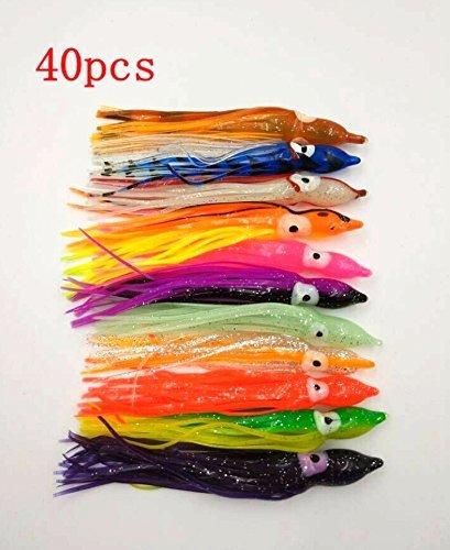 wang-data 40個12cm釣りルアーイカスカートOctopusトローリング釣りルアーセット