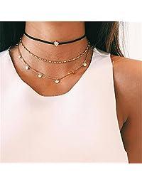 Zranda+ New Female Clavicle Chain Fashion Three-Layer Jewelry Choker Simple Star Pendant Necklace