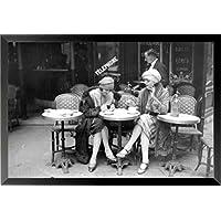 フレーム付きヴィンテージJeunes人の女たち( Girls at Cafe ) 36 x 24写真アートプリントポスターブラックandホワイトWoman Sitting外側Cafe