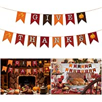 BESTOYARD バナー ガーランド 紙製 感謝祭 秋 パーテイー飾り GIVE THANKS 感謝の気持ち パ-ティ-グッズ 撮影小道具