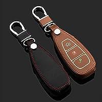 レザーキーホルダーケースカバー財布のためのフォードフォーカスエスケープecosportフィエスタモンデオスマート車のキーホルダーケースで光るダーク-黒